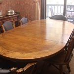 Dining table with 2 Captain Chairs and 8 Horse Head Chairs Romweber Furniture